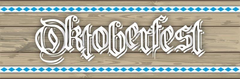 Oktoberfest Header Wooden Planks Bavarian Ribbon. Oktoberfest header with wooden planks and bavarian ribbons vector illustration