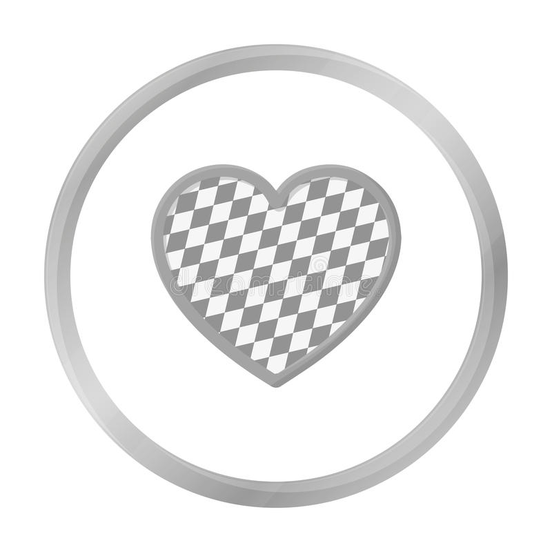Oktoberfest heart icon in monochrome style isolated on white background. Oktoberfest symbol stock vector illustration. Oktoberfest heart icon in monochrome stock illustration