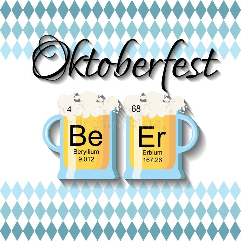 Oktoberfest-Hintergrundschablone mit zwei Biergläsern und Wortbier gemacht von den chemischen Elementen vektor abbildung