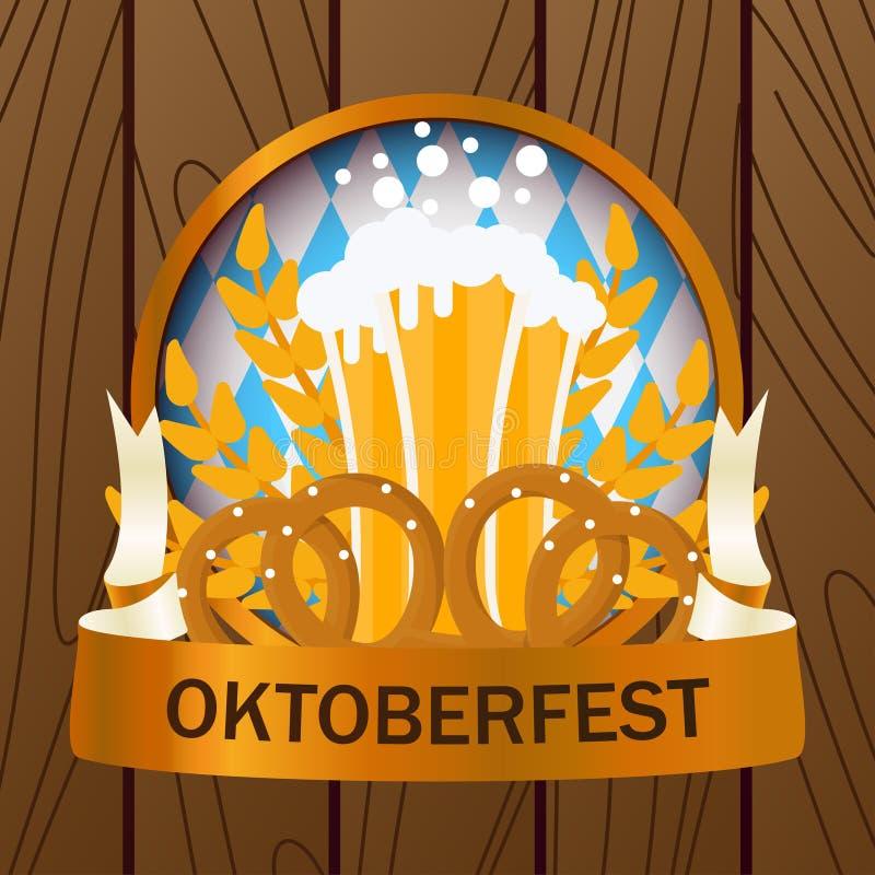 Oktoberfest 2018 holiday beer illustration background. Bavarian munich decoration event festive German isolated white. Glass carni stock illustration