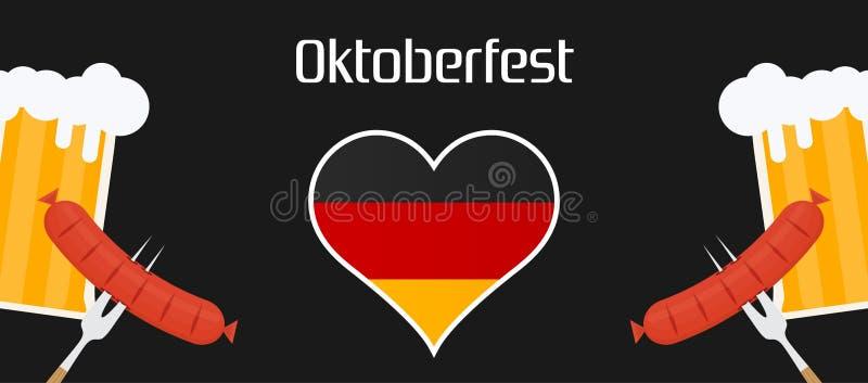 Oktoberfest holiday beer illustration background. Bavarian munich decoration event festive German isolated white. Glass stock illustration