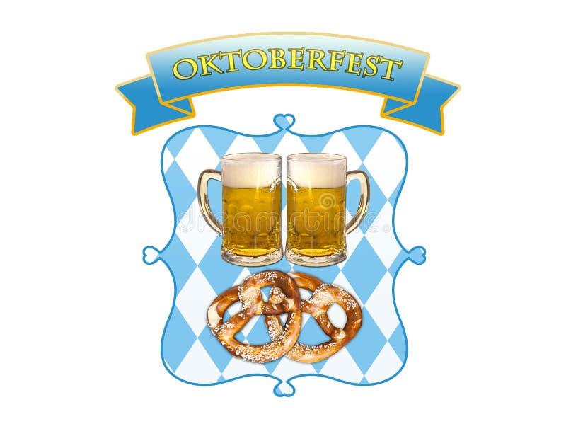 Oktoberfest i Munich, öl, kringlor och bavariafärger royaltyfri bild