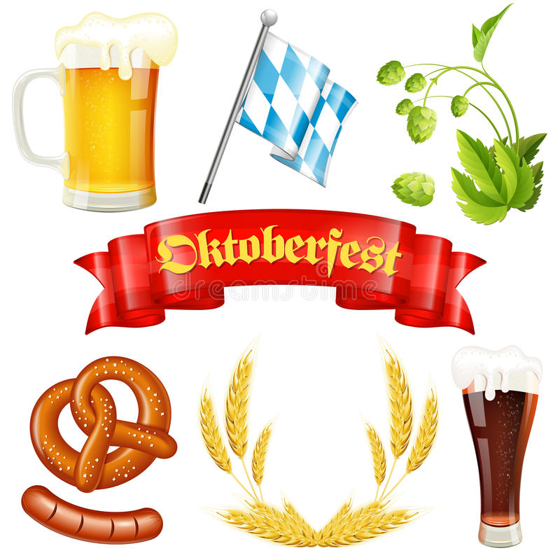 Oktoberfest Icon. S with Hops, Glass of Beer, Ears of Barley, Pretzel, Sausage, Bavarian Flag and Red Ribbon, vector isolated on white background royalty free illustration