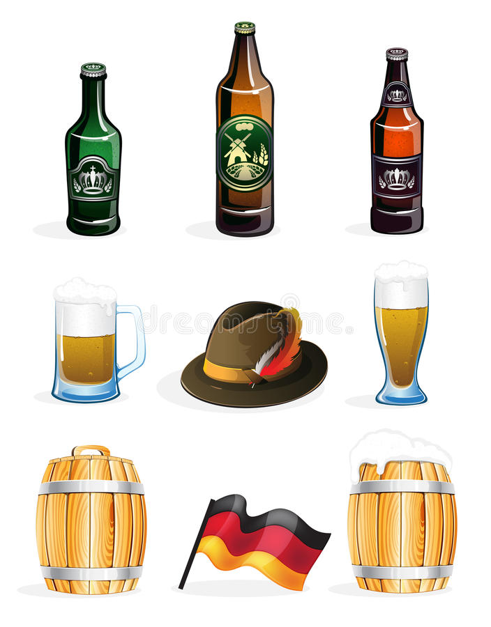 Oktoberfest icons. Bottles, glasses, barrels of beer, Tyrolean hat and a German flag. Oktoberfest symbols on a white background stock illustration