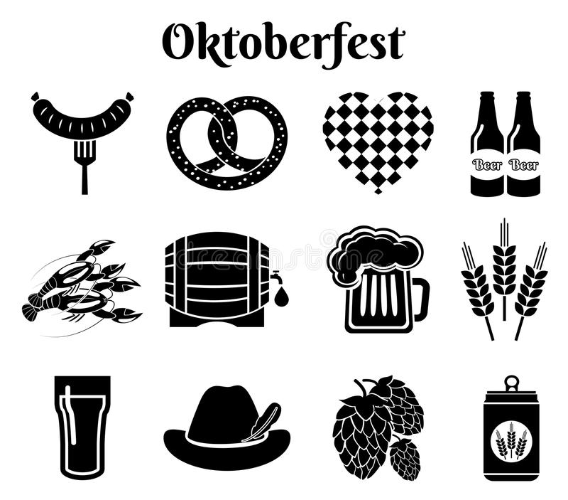 Oktoberfest icons. Vector Oktoberfest beer icons set with sausage, pretzel and Bavarian hat stock illustration