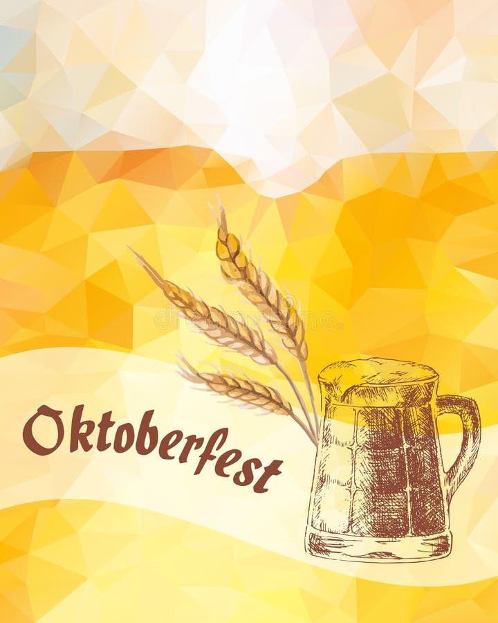 Oktoberfest Ilustração do vetor Orelhas da caneca de cerveja e do cereal secado ilustração stock