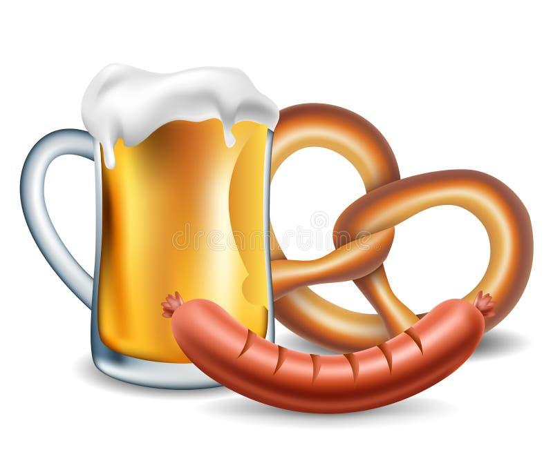 Oktoberfest jedzenie, piwo, kiełbasa i precel, ilustracji