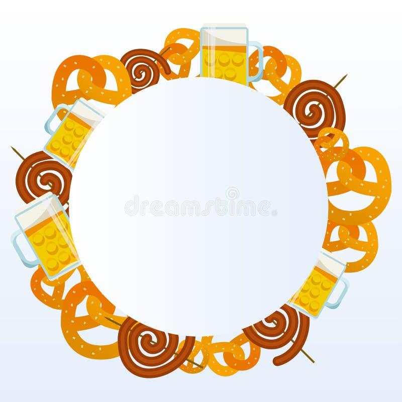 Oktoberfest 2018 Karczemnych jedzenie ramy wektoru ilustracji Piwo, mi?so, fast food, kubek, przek?ska, precel, kie?basa Karmowy  ilustracji