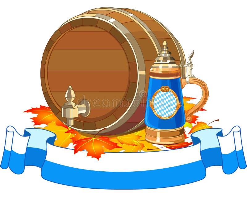 Oktoberfest keg and mug stock illustration