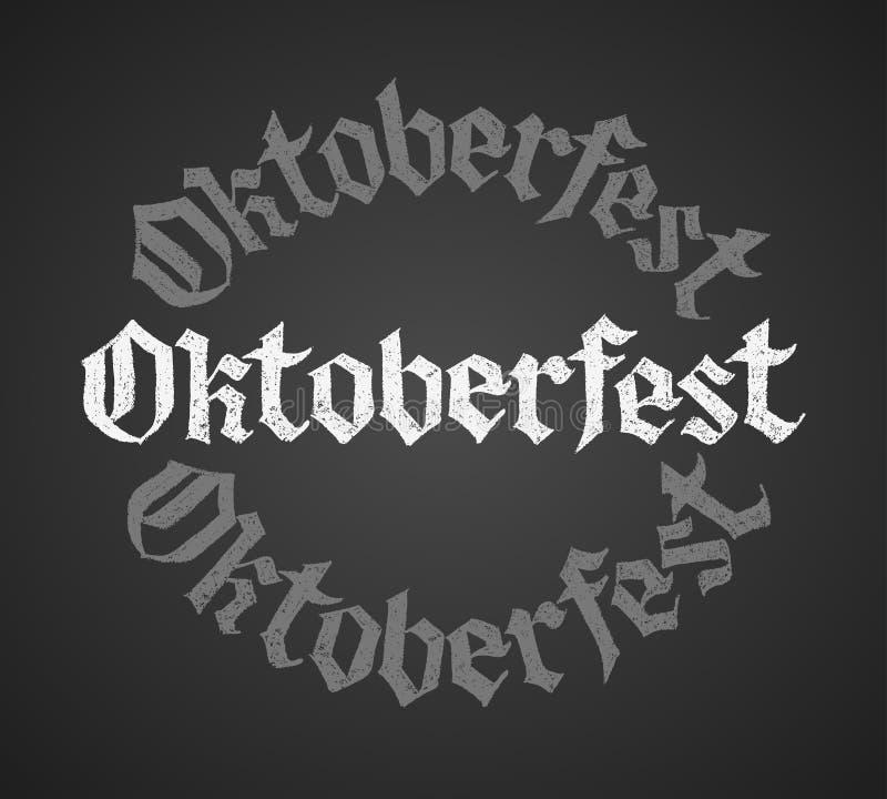 Oktoberfest kritabokstäver Enkelt ord stock illustrationer