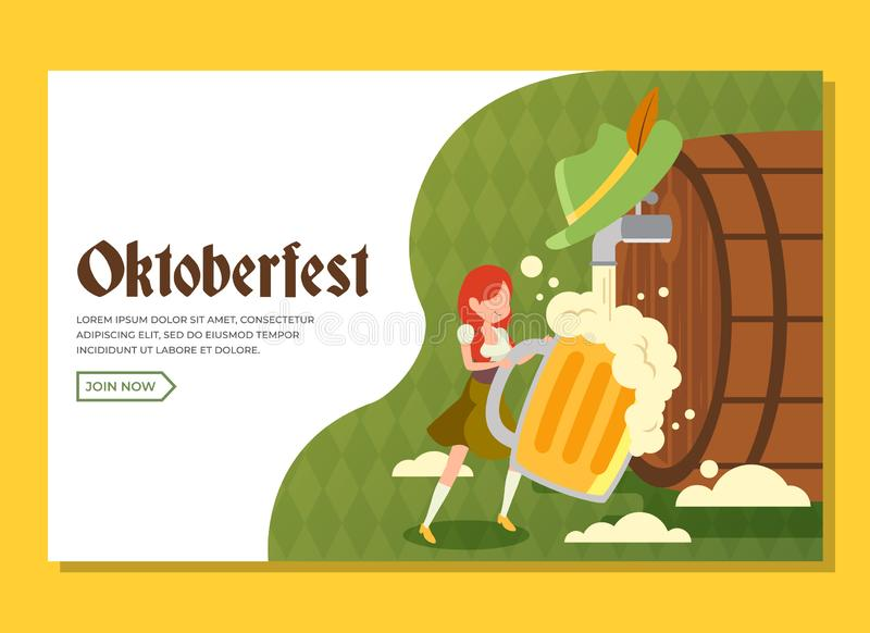 Oktoberfest landing page with girl holding a huge glass of beer royalty free stock images