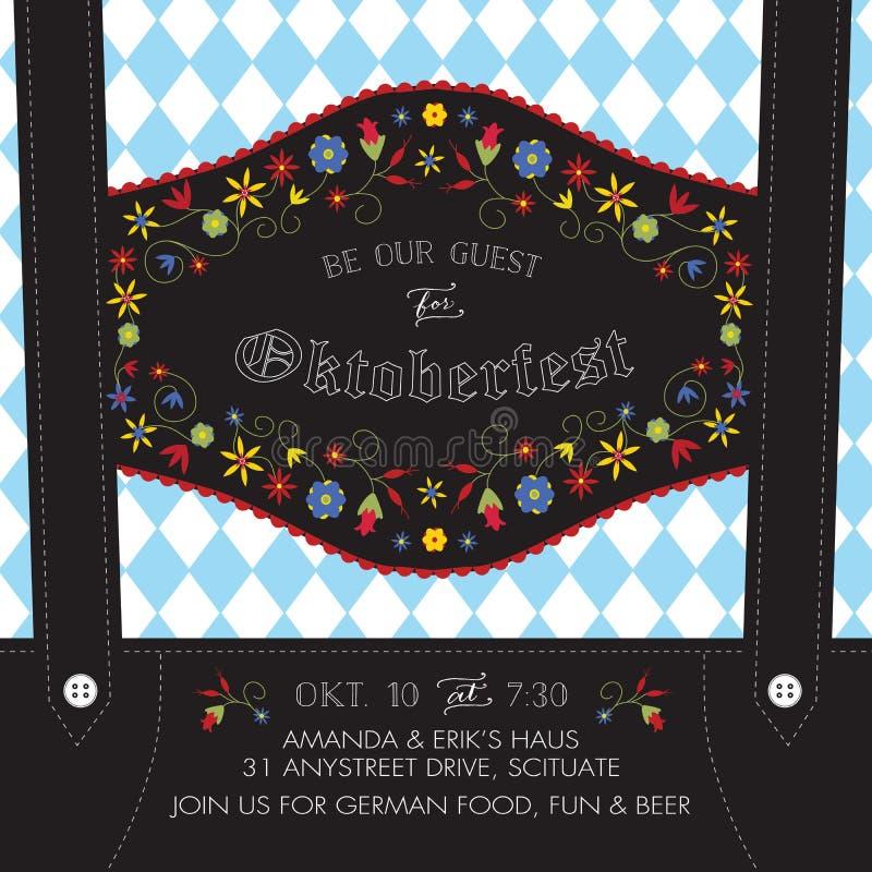 Oktoberfest Lederhosen Invite Template with Baverian Flowers and German Flag Background. Oktoberfest Lederhosen Invite Template with Bavarian Flowers and German stock illustration