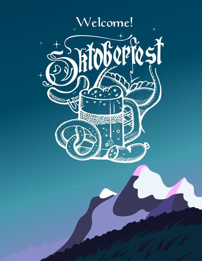 Oktoberfest logo, plakat Kubek piwna ręka rysujący precla dirndl royalty ilustracja