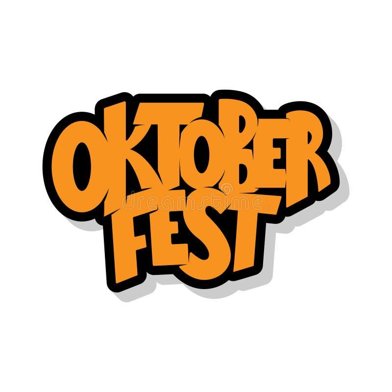 Oktoberfest logotyp Oktoberfest świętowania projekt na textured tle Szczęśliwa Oktoberfest literowania typografia Ręka kreśląca ilustracji
