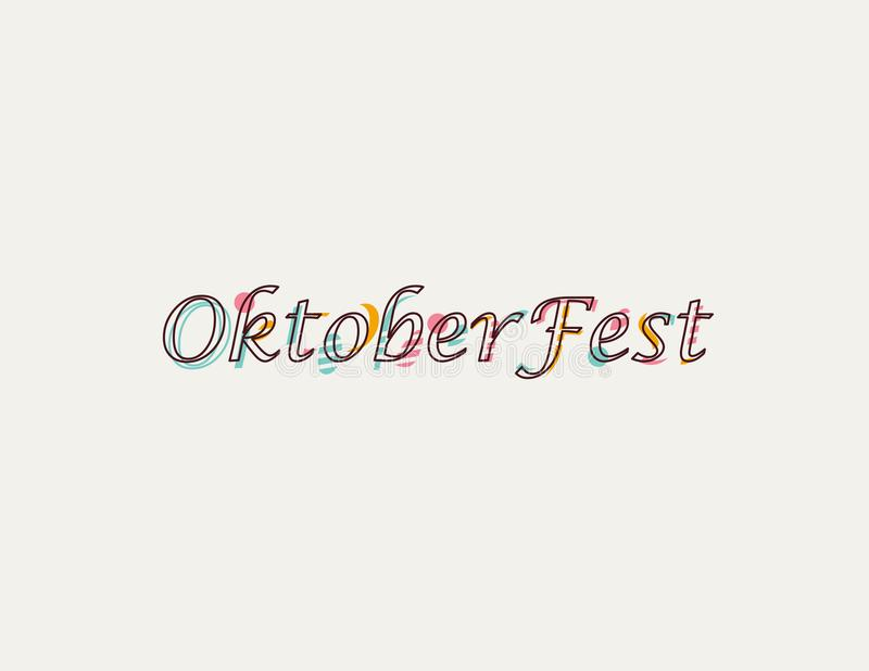 Oktoberfest logotype. Beer Festival vector banner. Illustration of Bavarian festival design on textured background with floral wre. Ath stock illustration