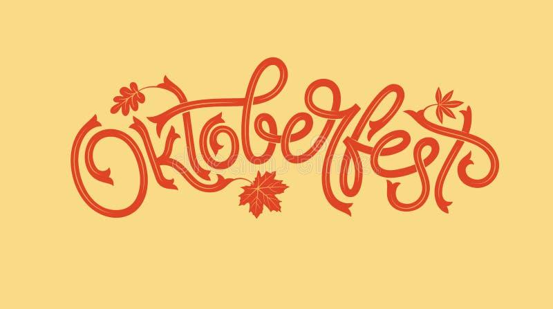 Oktoberfest logotype met esdoornblad De vectorbanner van het bierfestival Illustratie van Beiers festivalontwerp met bloemen royalty-vrije illustratie
