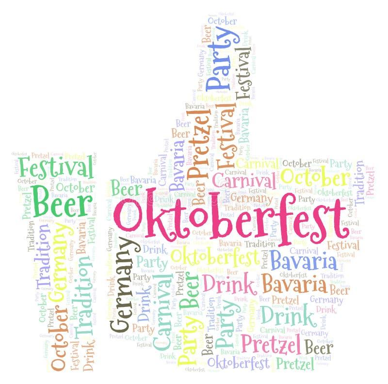 Oktoberfest in a mögen Formwortwolke vektor abbildung