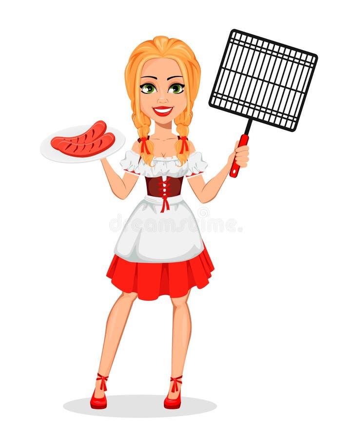 Oktoberfest młoda dziewczyna jest ubranym Bawarskiego kostium ilustracja wektor