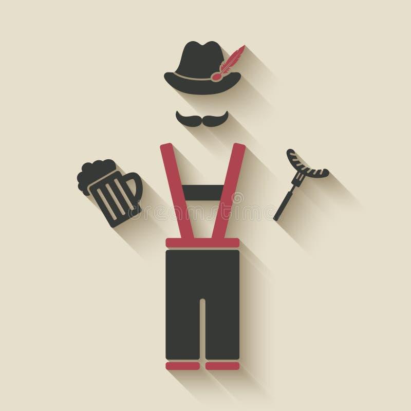 Oktoberfest man with beer mug and sausage royalty free illustration