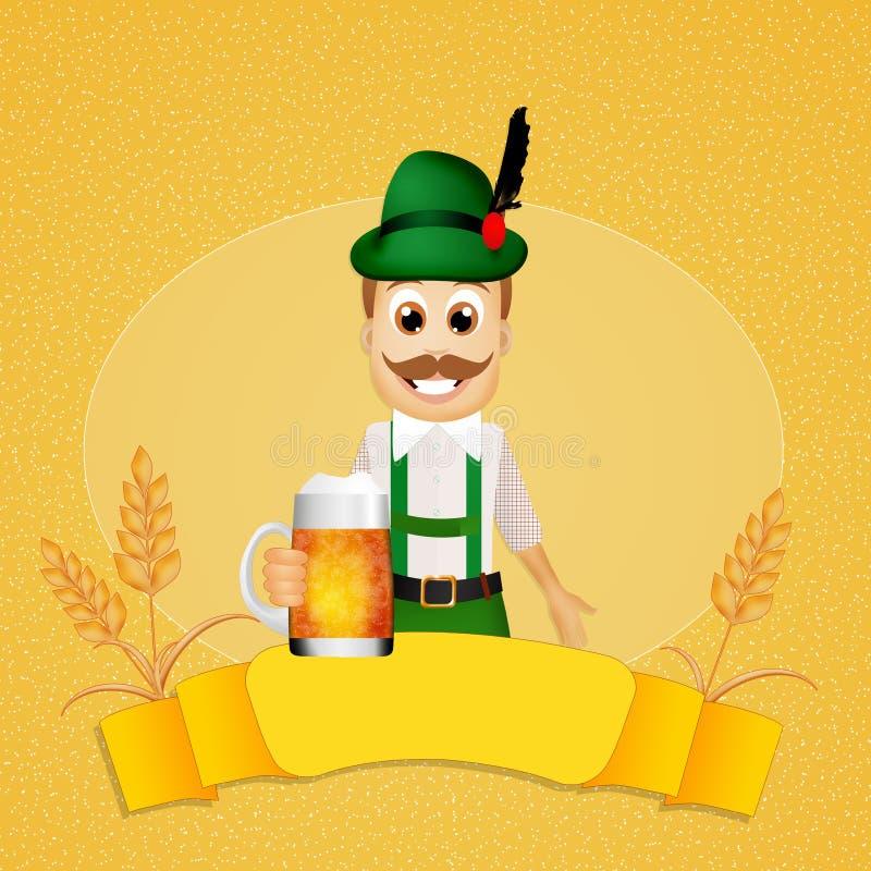 Oktoberfest man. Illustration of Oktoberfest man with beer royalty free illustration