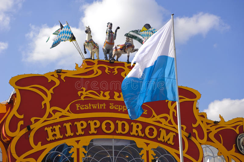 Oktoberfest in Munich. MUNICH, GERMANY - SEPTEMBER 21:entrance of beer hall named Hippodrom at world biggest beer festival Oktoberfest in Munich on September 21 stock photography