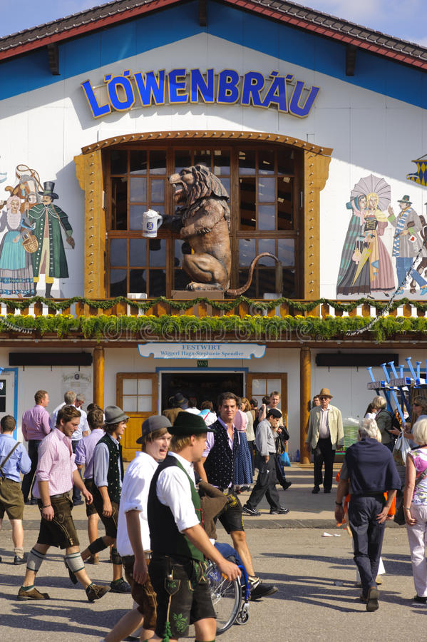 Oktoberfest in Munich. MUNICH, GERMANY - SEPTEMBER 21: lion at entrance of Loewenbraeu tent at world biggest beer festival Oktoberfest in Munich on September 21 royalty free stock image
