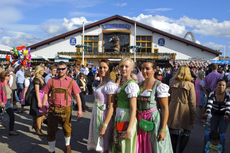 Oktoberfest in munich. MUNICH, GERMANY - October 3: tent of Löwenbräu brewery at world biggest beer festival Oktoberfest in Munich on October 3, 2012 in royalty free stock photos