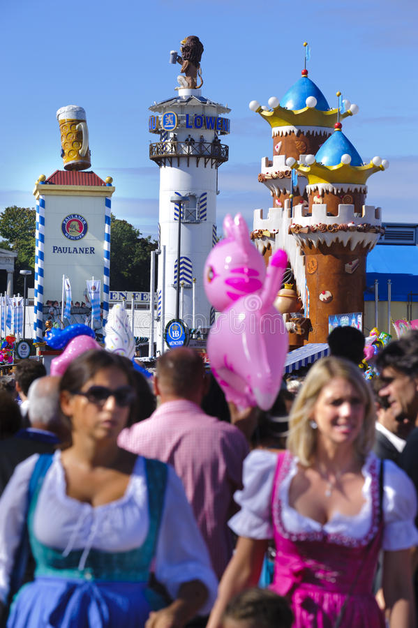 Oktoberfest in munich. MUNICH, GERMANY - October 3: street scene at world biggest beer festival Oktoberfest in Munich on October 3, 2012 in Munich, Germany royalty free stock photo