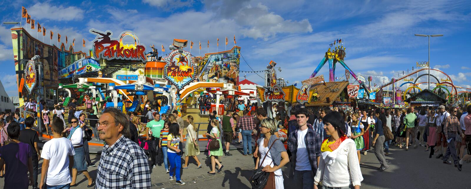Oktoberfest in munich. MUNICH, GERMANY - October 3: panorama view to amusement huts at world biggest beer festival Oktoberfest in Munich on October 3, 2012 in royalty free stock image