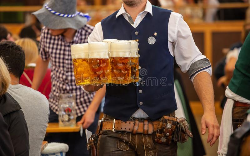 Oktoberfest, Munich, Germany. Waiter serving beers, closeup view. Oktoberfest, Munich, Germany. Waiter with traditional costume serving beers, closeup view royalty free stock image