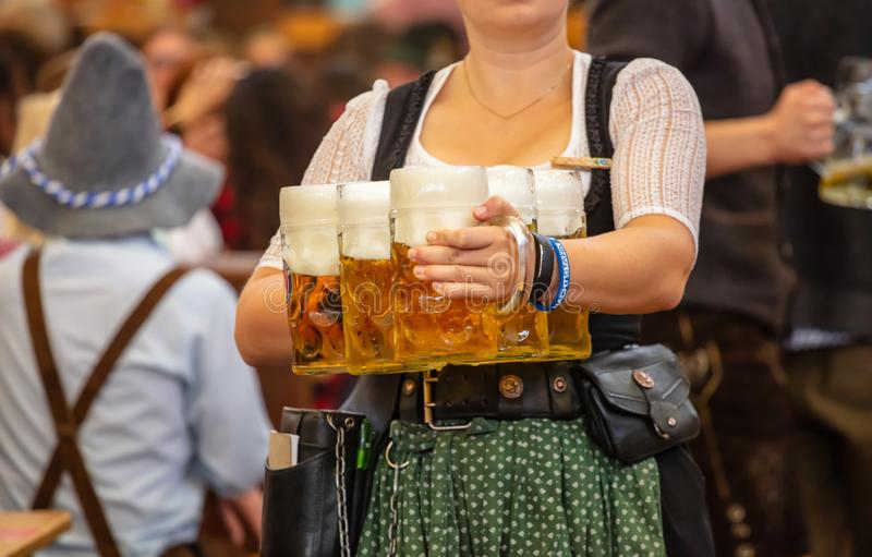 Oktoberfest, Munich, Germany. Waiter with traditional costume holding beers. Oktoberfest, Munich, Germany. Woman waiter with traditional costume holding beers stock photos