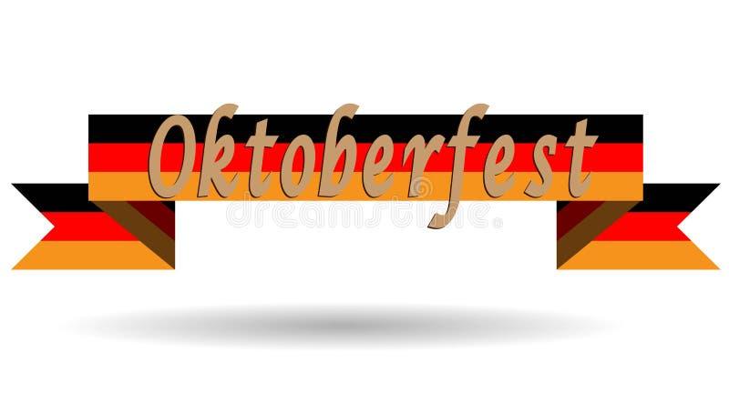 Oktoberfest na bandeira de Alemanha, ilustração lisa do vetor, folheto, bandeira, festival do logotipo ilustração do vetor