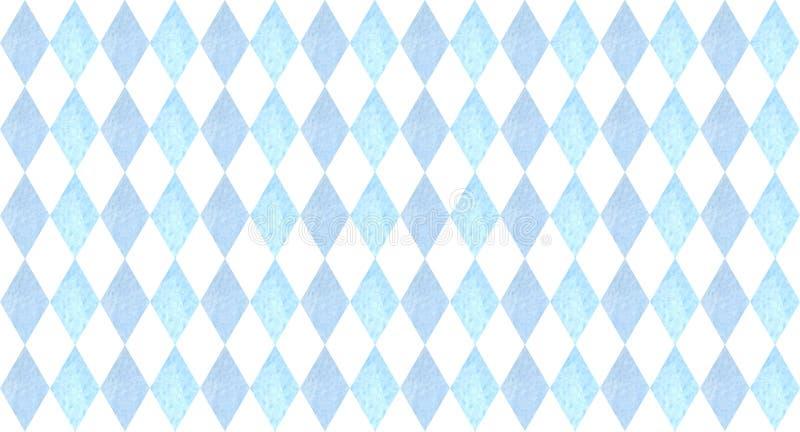 Oktoberfest naadloos patroon met blauwe ruiten waterverfillustratie voor drukken, kaarten, affiches royalty-vrije illustratie