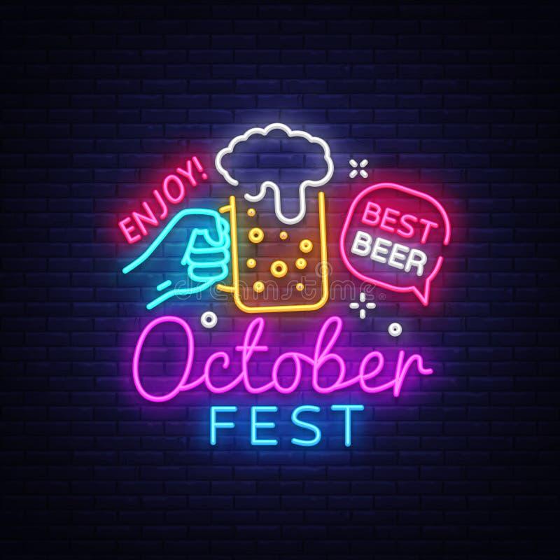 Oktoberfest-Neon Logo Vector Oktoberfest-Bier-Festivalleuchtreklame, Designschablone, modernes Tendenzdesign, Nachtneon stock abbildung