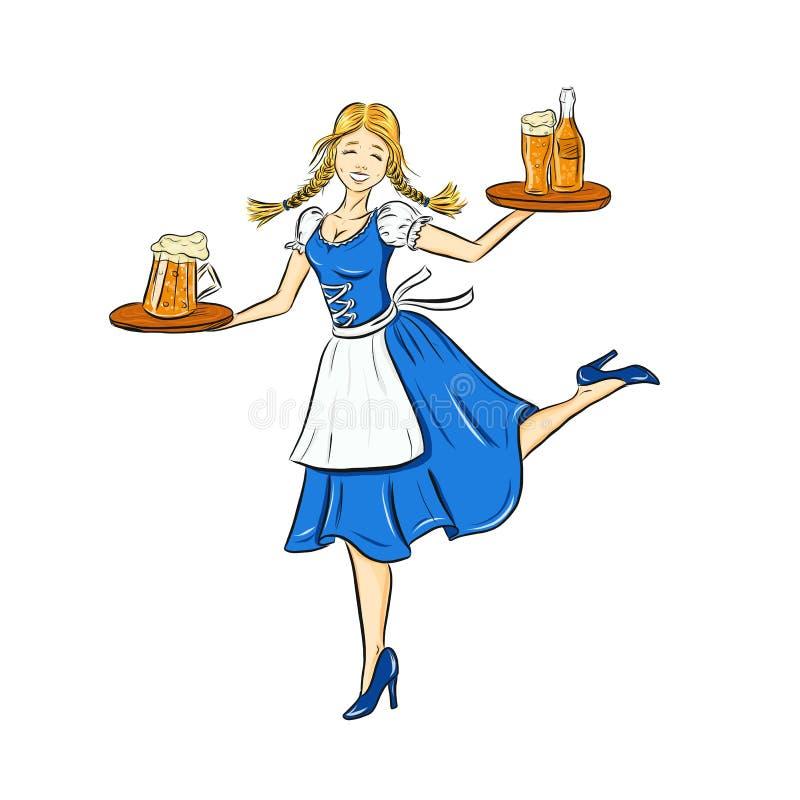 Oktoberfest outline illustration of smiling girl in traditional german costume with beer on tray. Dancing bavarian waitress for ho. Liday poster, banner. logo vector illustration