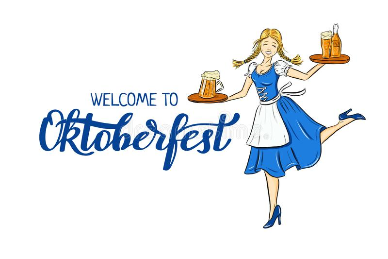 Oktoberfest outline illustration of smiling girl in traditional german costume with beer on tray. Dancing bavarian waitress for ho. Liday poster, banner. logo stock illustration