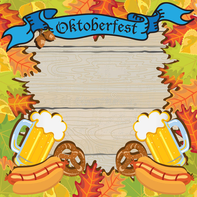 Oktoberfest Party Frame Invitation Poster vector illustration