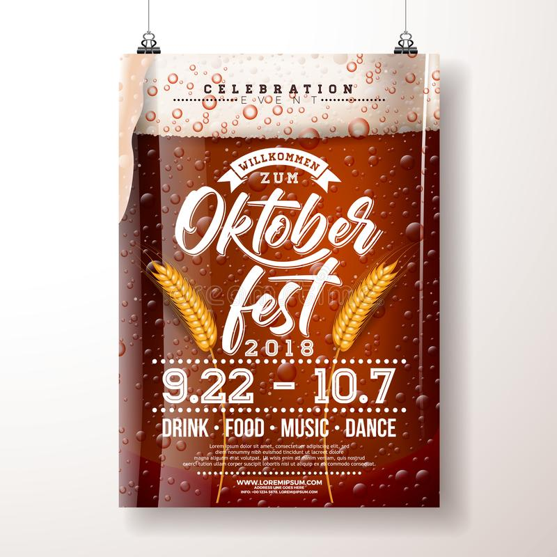 Oktoberfest party poster illustration with fresh dark beer and wheatear on clear background. Vector celebration flyer stock illustration