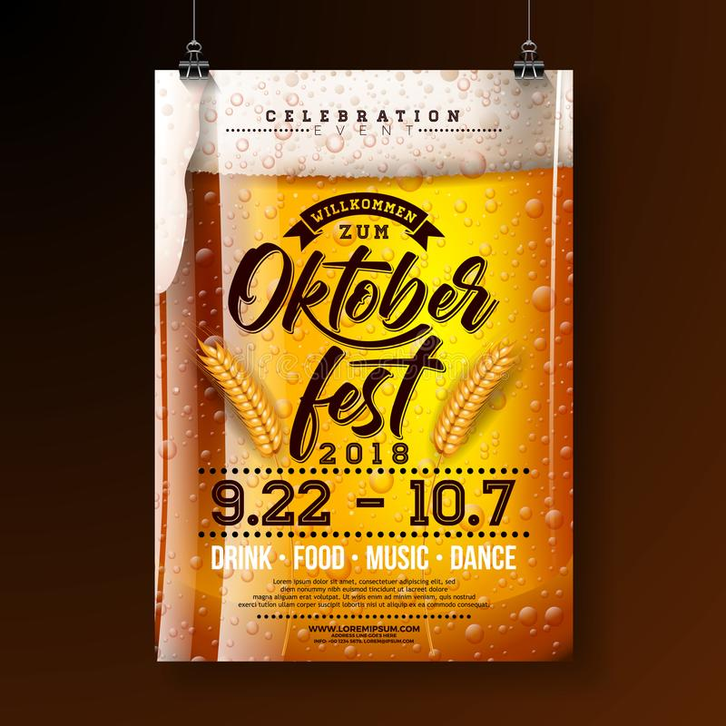 Oktoberfest party poster illustration with fresh lager beer and wheatear on dark background. Vector celebration flyer. Template with typography lettering for royalty free illustration