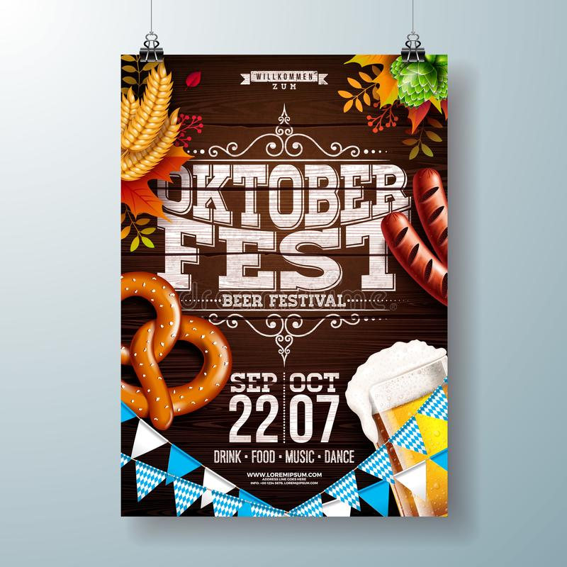 Oktoberfest party poster vector illustration with typography letter, fresh beer, pretzel, sausage and falling autumn. Leaves on wood texture background royalty free illustration