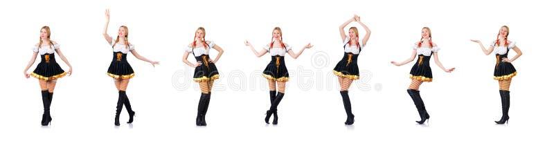 Oktoberfest pojęcie z kobietą na bielu zdjęcia royalty free