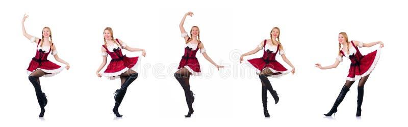 Oktoberfest pojęcie z kobietą na bielu zdjęcia stock