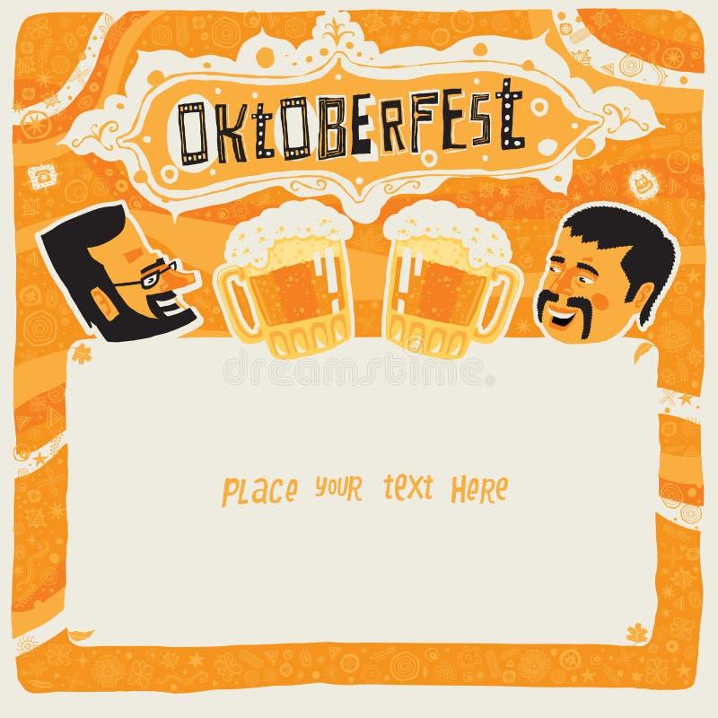 Oktoberfest postcard, poster, background, ornament or party invitation stock illustration