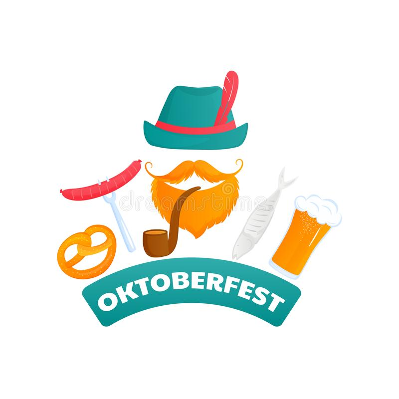 Oktoberfest poster. Bearded man in a green hat with a pipe. Fish, sausage, pretzel, beer - traditional Austrian food.  vector illustration