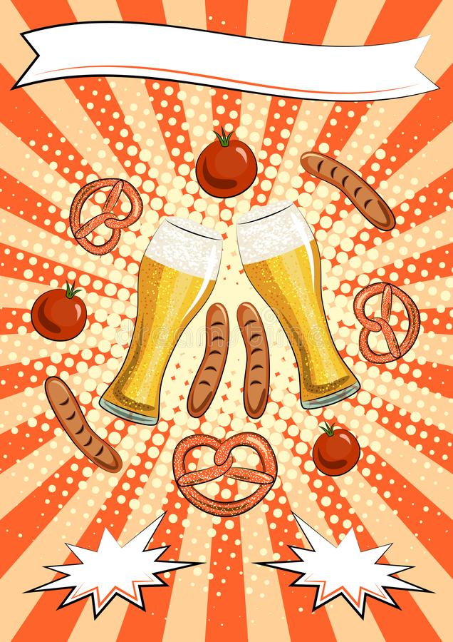 Oktoberfest poster template: pints with light beer, pretzels, sausages, tomatoes, place for text. Germany. Munich. Orange stock illustration