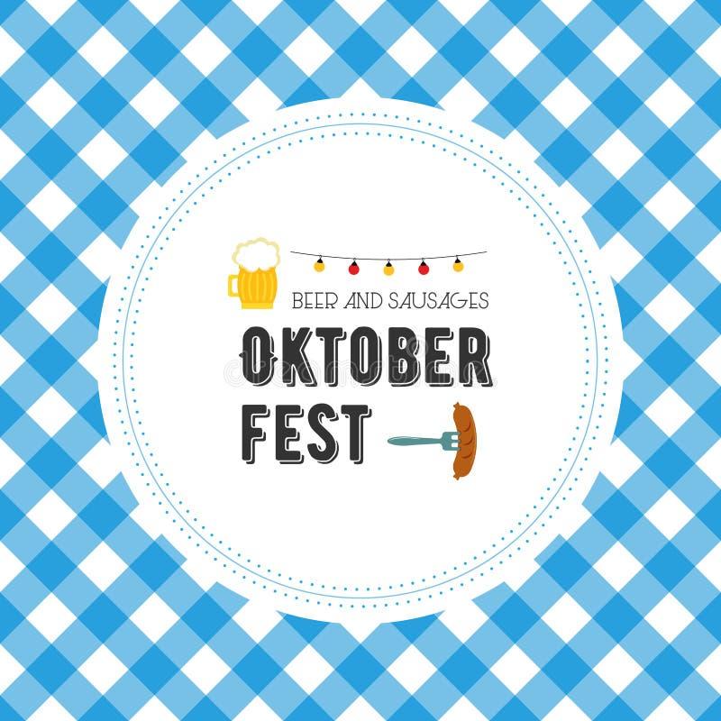 Oktoberfest poster vector illustration with fresh lager beer on blue white flag background. Celebration flyer template vector illustration