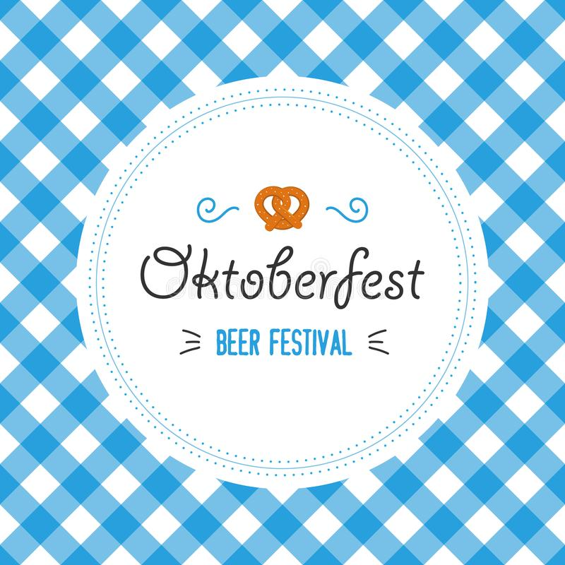 Oktoberfest poster vector illustration with fresh lager beer on blue white flag background. Celebration flyer template stock illustration