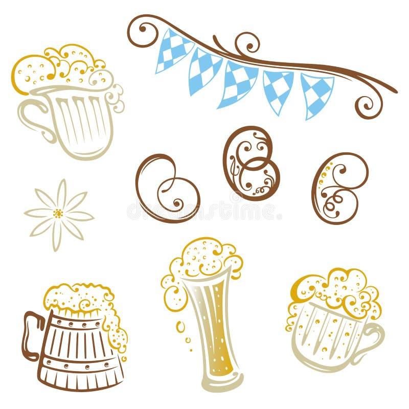 Oktoberfest, pretzel, beer vector illustration