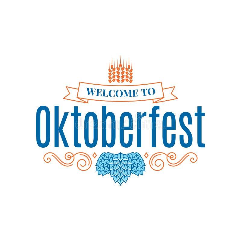 Oktoberfest rocznika literowanie z chmielowym i pszenicznym na białym tle
