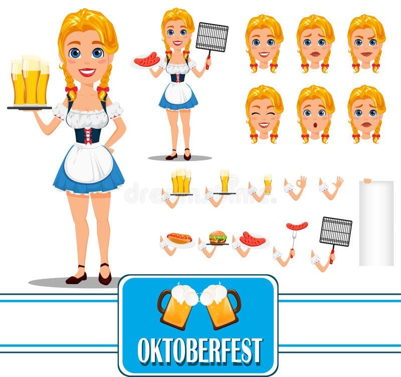 Oktoberfest rudzielec dziewczyny charakteru tworzenia seksowny set Pełny heigh ilustracji